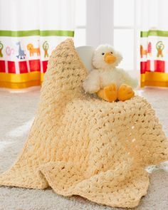 Puffy Baby Blanket - crochet.  Warm, oh-so-huggable blankie in Bernat Baby Blanket.