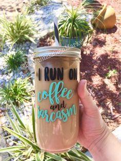 I Run On Coffee & Sarcasm Glass Mason Jar Tumbler – Playalinda Sign Market Diy Hanging Shelves, Floating Shelves Diy, Mason Jar Projects, Mason Jar Crafts, Diy Home Decor Projects, Diy Projects To Try, Craft Projects, Pot Mason Diy, Mason Jar Tumbler