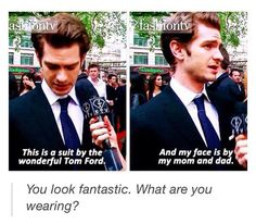 """Andrew Garfield answers the """"What are you wearing?"""" - Visit to grab an amazing super hero shirt now on sale!"""