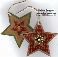 """Handmade Christmas gift tags using Stampin' Up! products - Many Merry Stars Simply Created Kit, Metallic Baker's Twine, and 1/4"""" Circle Handheld Punch. By Michele Reynolds, Inspiration Ink, http://inspirationink.typepad.com/inspiration-ink/2014/12/many-merry-stars-simply-created-kit-ideas.html."""