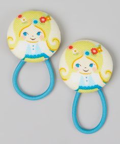 Loving this Baby Raindrops Blue Blonde-Haired Girl Hair Tie Set on #zulily! #zulilyfinds