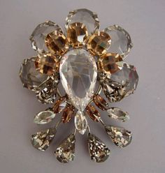 "SCHREINER clear and brown rhinestone brooch with teardrop ends, 2-1/2"" by 2-1/4"".   View   #S32790"