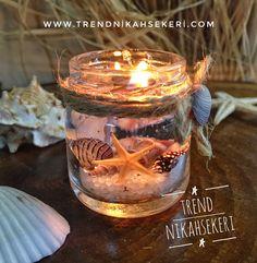 Söz ,nişan,düğün,bebek hediyesi jel mum Candle Jars, Candles, Wax Tarts, Candle Making, Sea Shells, Picture Frames, Food And Drink, Soap, House Design