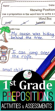Preposition worksheets | printables | activities | literacy centers | 1st Grade First Grade, Grade 1, Preposition Activities, Structural Analysis, Activity Board, Resource Room, Prepositions, Common Core Standards, Literacy Centers