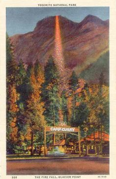 Yosemite Fire fall of red cedar embers.
