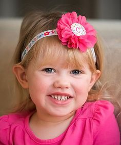Look at this #zulilyfind! Pink Flower 'Big Sister' Initial Headband #zulilyfinds