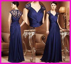 Wholesale - 2014 Elegant Royal Blue Cap Sleeve Applique Lace Long Chiffon Formal Mother Of The Bride Dress Plus Size M1558 US $119.00