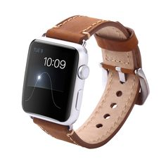 Vintage Crazy Horse Genuine Leather Watchband Strap For Apple Watch Black and Brown Replacement Watchband 38mm 42mm
