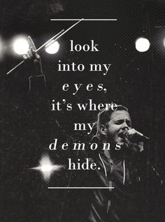 One of my favorite songs ^.^ Demons by Imagine Dragons I loved their performance! I really like imagine dragons! Demons Imagine Dragons, Imagine Dragons Letras, Song Lyric Quotes, Music Lyrics, Music Quotes, Lyrics Of Songs, Demon Lyrics, Concert Quotes, Dark Lyrics