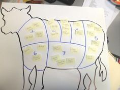 Post-Its label cuts of meat- FACS Food & Nutrition class