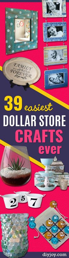 39 Easiest Dollar Store Crafts Ever - Quick And Cheap Crafts To Make, Dollar Sto. 39 Easiest Dollar Store Crafts Ever – Quick And Cheap Crafts To Make, Dollar Das einfac Diy Arts And Crafts, Diy Crafts To Sell, Easy Crafts, Sell Diy, Diy Crafts Cheap, Decor Crafts, Craft Gifts, Diy Gifts, Cheap Gifts