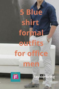 this outfit consist of a formal shirt, a belt, trouser, and shoes. Shirt is a slim fit blue in color with full sleeved and tucked in. pant/trouser is formal white. Belt is a single buckled black leather. Shoes are sockless grey
