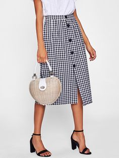 To find out about the Gingham Single Breasted Skirt at SHEIN, part of our latest Skirts ready to shop online today! Gingham Skirt, Gingham Fabric, Skirt Outfits, Dress Skirt, Midi Skirt, Diy Outfits, Full Length Skirts, Work Wardrobe, Skirt Fashion
