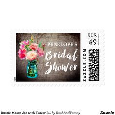 Rustic Mason Jar with Flower Bouquet Bridal Shower Postage This rustic mason jar with flower bouquet bridal shower postage stamp is perfect for a floral country theme wedding shower. The design features an elegant arrangement of blush pink watercolor peonies and wildflowers in a blue mason jar on a wood textured background. Personalize the stamps with the name of the bride-to-be.