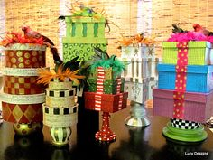 upcycle boxes & tins with paint & ribbon for festive gifting.