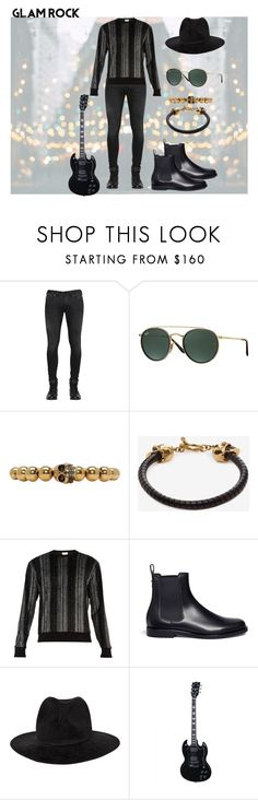"""""""An inspiration in rock 'n roll with a black total look"""" by ricardo-vitorino on Polyvore featuring Diesel, Ray-Ban, Alexander McQueen, Yves Saint Laurent, Valentino, Yohji Yamamoto, men's fashion e menswear"""