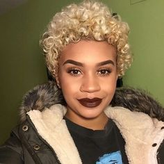 Beautiful. Platinum blonde curly fro. | natural hair.   #beautiful brown black foxy queen girl with white blonde hair.