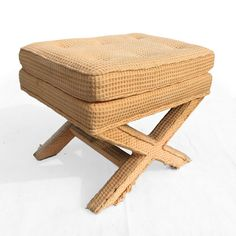 Vintage Hollywood Regency X Bench Ottoman Stool Palm Beach