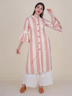 Shop Crochet lace Work Wooden Buttoned Striped Kurti – Sand Pink from Shoprapy !Discover Latest & Trendy Clothing & Accessories like Crochet lace Work Wooden Buttoned Striped Kurti – Sand Pink online in Best Price! Neck Designs For Suits, Sleeves Designs For Dresses, Dress Neck Designs, Blouse Designs, Long Kurta Designs, Simple Kurti Designs, Kurta Designs Women, Latest Kurti Designs, Fancy Kurti