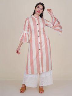 Crochet lace Work Wooden Buttoned Striped Kurti – Sand Pink - | 949