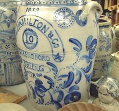 Beautiful Execution in the Cobalt Blue Detail on This Antique Salt Glaze, Stoneware 10 Gallon Barrel