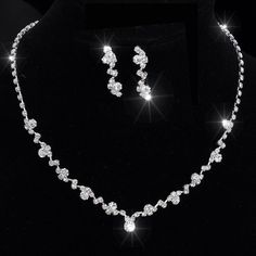 Silver Tone Crystal Tennis Choker Necklace Set Earrings