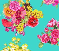 aqua turquoise flowers fabric by katarina on Spoonflower - custom fabric