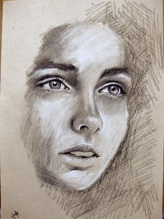 SALE- Face - Original Drawing - Original illustration -charcoal
