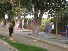 Pedestrian route from Ephesus, Turkey to the ruins, lined with public exercise equipment