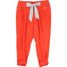 Little Marc Jacobs Girl's Coral Trousers with Grey Waist Tie. Available now at www.chocolateclothing.co.uk