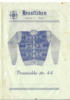 Husfliden Vossejakke Knit Patterns, Embroidery Patterns, Norwegian Knitting, Tapestry Weaving, Vintage Knitting, Old Pictures, Norway, Knit Crochet, Art Deco