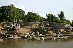 terraced stoned descending to water