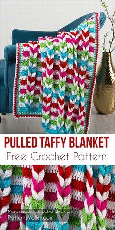 Pulled Taffy Blanket [Free Crochet Pattern] by PatternsValley Crochet For Beginners Blanket, Baby Blanket Crochet, Crochet Baby, Crochet Blankets, Beginner Crochet, Baby Blankets, Granny Square Crochet Pattern, Afghan Crochet Patterns, Crochet Afghans