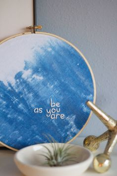 This DIY Indigo Dyed Embroidery from @LovelyIndeed is all kinds of precious. What a lovely reminder for a space in your home! /ES