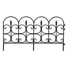 Emsco Victorian Fleur De Lis Medium 16 in. Resin Garden Fence (12-Pack)-2093HD at The Home Depot - 318 inches - 26.5 ft - 37.98 black - 11.75 inch high