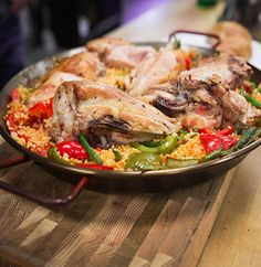 Paella  - a traditional Spanish dish best cooked over hot charcoal.