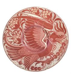 A WILLIAM DE MORGAN RUBY LUSTRE EARTHENWARE PLATE   CIRCA 1885   Decorated with an eagle, impressed 'H'   8 3/8 in. (21.4 cm.) diameter
