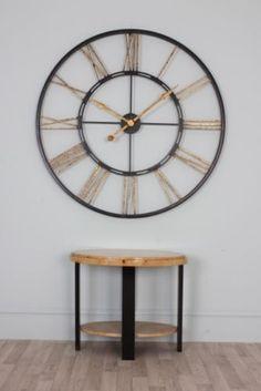 Extra Large Black Gold Iron Skeleton Wall Clock