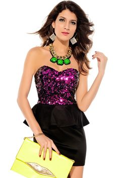 iecool Women's Sequin Top Peplum Dress * Click image for more details. (This is an affiliate link and I receive a commission for the sales)