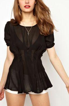 b92ba633dfe75 Black Plain Ruffle See Through Short Sleeve Wrap Polyester Sexy Blouse