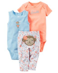Baby Girl 3-Piece Neon Little Character Set  Featuring a cute little monkey on the bottom and two coordinating bodysuits, this babysoft cotton set lets her mix and match with essential pants.