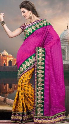Try out this year top trend, glowing, bold and natural collection.   This magenta and dark yellow banarasi jacquard saree is nicely designed with embroidered patch work is done with resham, zari, sequins, stone and lace work.   Beautiful embroidery work on saree make attractive to impress all.   This saree gives you a modern and different look in fabulous style.   Matching blouse is available.   Slight color variations are possible due to differing screen and photograph resolution.
