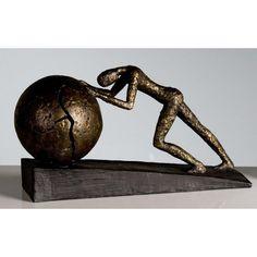 Große dekorative Skulptur Heavy Ball broncefarben...