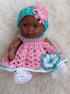 Crocheted Set Clothes for 5 inch Berenguer Itty Bitty OOAK Cup Cake Doll