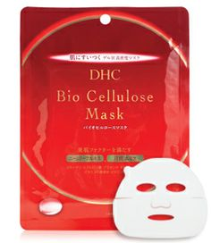 """DHC Bio Cellulose Mask :: Instant skin rehydration & relief. Despite having to warn my boyfriend ahead of time that I'm going to wear this mask -- """"Aiiiiyyyyeee!! Kabuki murder face!!! -- this is a favorite. You can feel your greedy skin slurping up the moisture, all the moisture. Recommended for after a long flight or a desert rally. -bab"""
