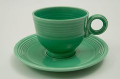 panese teacup and saucer set | Fiesta Green Fiesta Teacup and Saucer Fiestaware Pottery For Sale