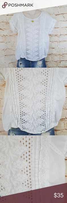 "Anthropologie One September white eyelet top Pretty Anthro top with crochet lace and white eyelet detail excellent condition no flaws 21"" across from armpit to armpit and 24""long from shoulder to hem Anthropologie Tops"