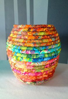 Batik Fabric Coiled Pot by JustJenniferB on Etsy Rope Basket, Basket Weaving, Sewing Crafts, Sewing Projects, Coil Pots, Fabric Bowls, Rope Crafts, Batik, Fabric Scraps