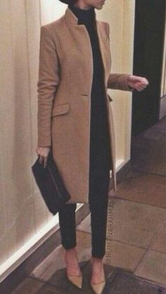 Cigarette pants, camel coat, nude heels. Effortlessly chic + polished.
