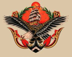 Eagle & Ship Tattoo Flash  | KYSA #ink #design #tattoo